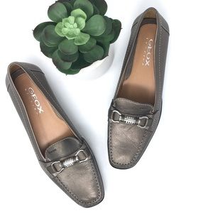 Geox Diamante Buckle Leather Moccasin